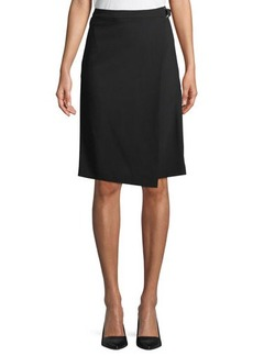 Michael Kors Collection Belted Wool Serge Wrap Skirt
