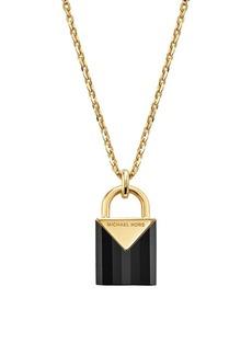 Michael Kors Black Onyx, Crystal & Sterling Silver Mercer Padlock Pendant Necklace