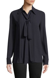 Michael Kors Collection Bow-Neck Button-Front Blouse