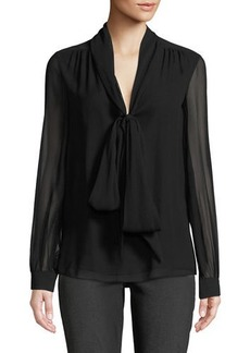 Michael Kors Collection Bow-Neck Chiffon Blouse