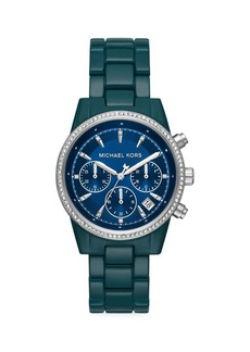 Michael Kors Bradshaw Teal Pavé Stainless Steel Bracelet Chronograph Watch