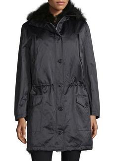 Michael Kors Button-Front Anorak Jacket W/Fur Hood