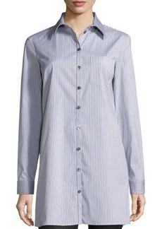 Michael Kors Button-Front Skinny-Stripe Long Shirt