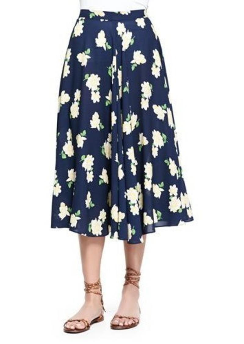 Michael Kors Camellia-Print Ruffled Circle Skirt