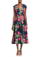 Michael Kors Cap-Sleeve Begonia-Print Dress