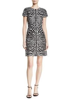 Michael Kors Cap-Sleeve Zebra-Jacquard Sheath Tee Dress