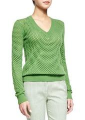 Michael Kors Cashmere-Blend Pointelle V-Neck Sweater