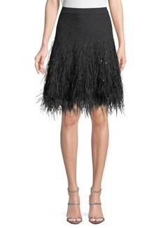 Michael Kors Collection Cashmere Skirt W/ Ostrich Feather Hem