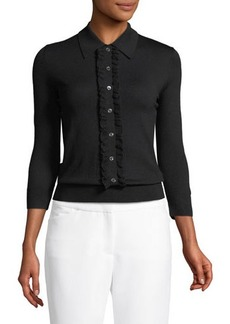 Michael Kors Collection Collared Center-Ruffle Sweater