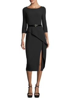 Michael Kors Collection 3/4-Sleeve Asymmetric Peplum Dress