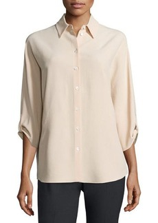 Michael Kors 3/4-Sleeve Button-Front Blouse