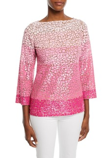 Michael Kors 3/4-Sleeve Dégradé Sequin Tulle Tunic