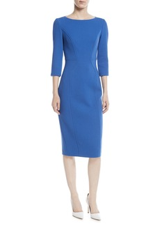 Michael Kors Collection 3/4-Sleeve Stretch Boucle Crepe Dress