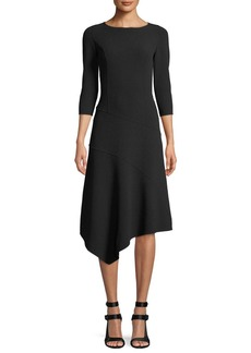 3/4-Sleeve Stretch-Wool Crepe Asymmetrical Dress