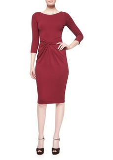 Michael Kors Collection 3/4-Sleeve Twist-Front Sheath Dress