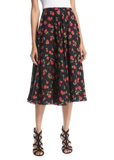 Michael Kors Collection A-Line Rose-Print Silk Georgette Midi Skirt