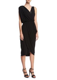 Michael Kors Collection Asymmetric Drape Dress with Plongé Trim