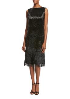 Michael Kors Collection Beaded-Fringe Sleeveless Cocktail Dress