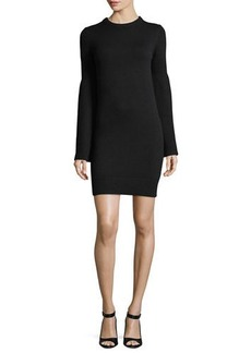 Michael Kors Bell-Sleeve Crewneck Cashmere-Blend Mini Dress
