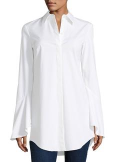 Michael Kors Collection Bell-Sleeve Poplin Blouse