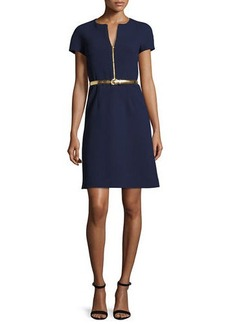 Michael Kors Collection Belted A-Line Zip-Front Dress
