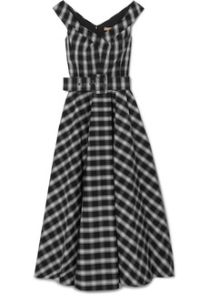 Michael Kors Collection Belted checked cotton-blend poplin midi dress