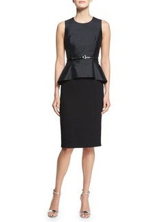 Michael Kors Belted Shantung Peplum Sheath Dress