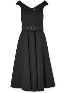 Belted stretch-cotton dress