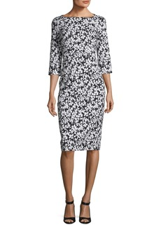 Michael Kors Boat-Neck Floral-Print Stretch Jacquard Sheath Dress