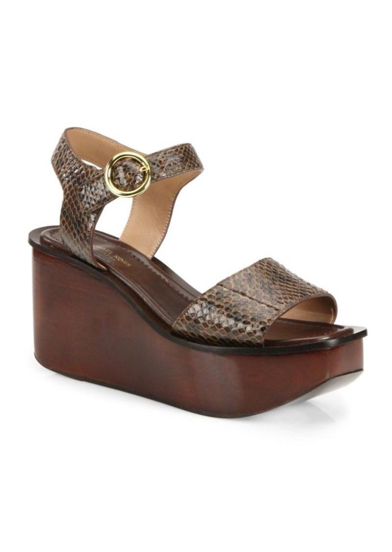 Michael Kors Collection Bridgette Snakeskin Wedge Platform Sandals