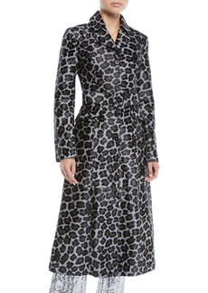 Michael Kors Collection Button-Front Belted Leopard-Print Calf Hair Coat