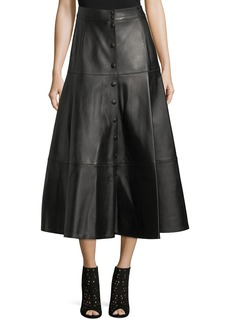 Michael Kors Collection Button-Front Leather Midi Skirt
