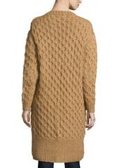 Michael Kors Button-Front Textured Long Cardigan