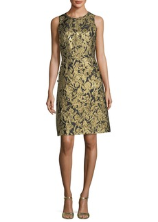 Button-Pocket Crewneck Sheath Dress