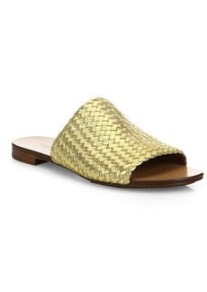 Michael Kors Byrne Woven Metallic Leather Slides