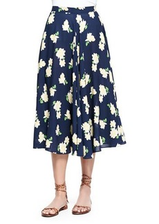 Michael Kors Camellia-Print Ruffled Circle Skirt