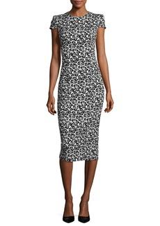 Michael Kors Collection Cap-Sleeve Floral Jacquard Sheath Dress