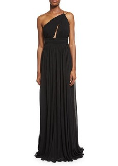 Michael Kors Cap-Sleeve Funnel-Neck Maillot Gown