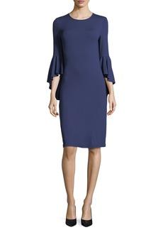 Michael Kors Collection Cascade-Sleeve Stretch Matte Jersey Sheath Dress