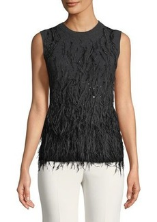 Michael Kors Collection Cashmere Feathered Sweater