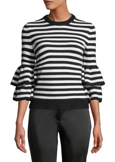 Michael Kors Collection Cashmere-Striped Tiered-Sleeve Sweater
