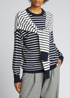 Michael Kors Collection Cashmere Striped Wrapped Sweater