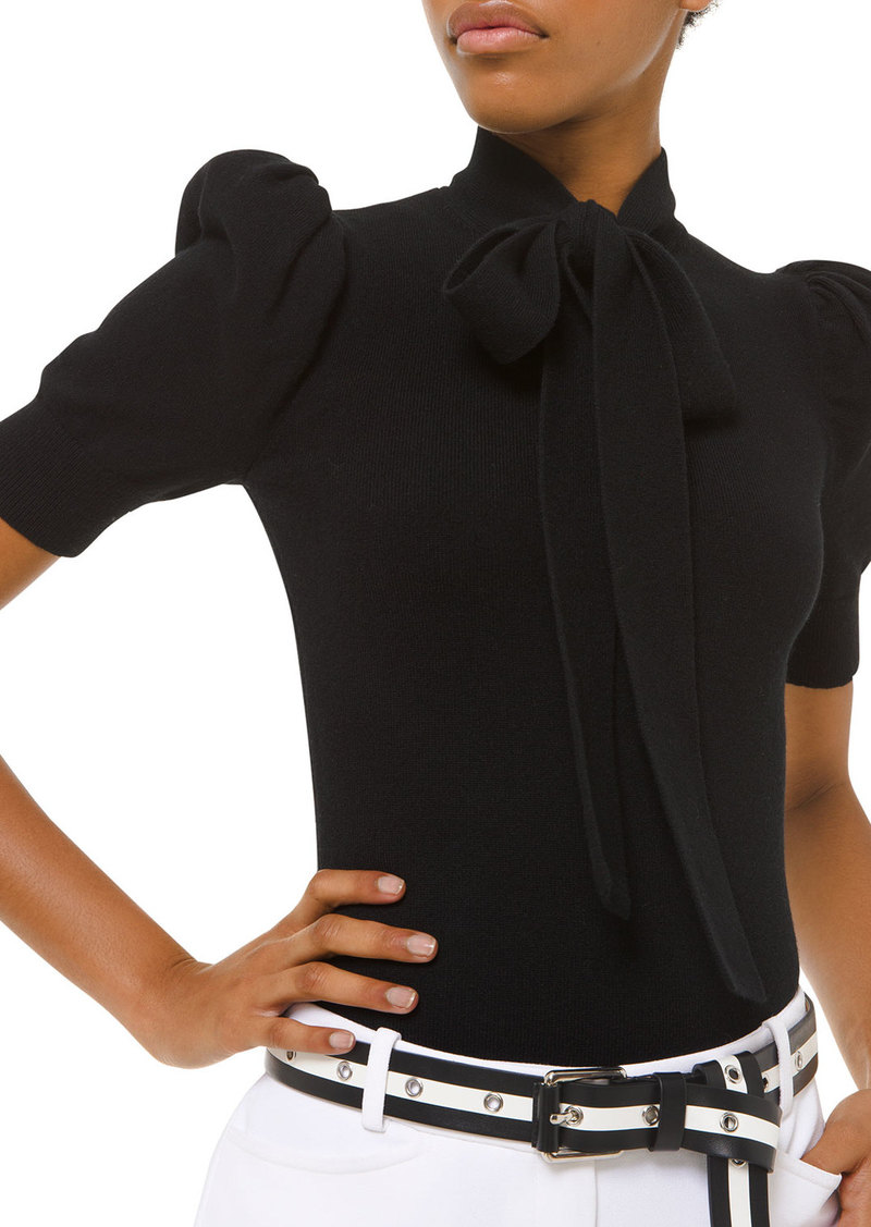 Michael Kors Collection Cashmere Tie-Neck Puff-Sleeve Sweater