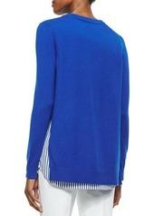 Michael Kors Cashmere V-Neck Sweater w/Striped Underlay
