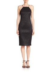 Michael Kors Collection Chain-Strap Metallic Jacquard Sheath Dress