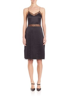 Michael Kors Collection Chantilly-Trim Silk Slip Dress