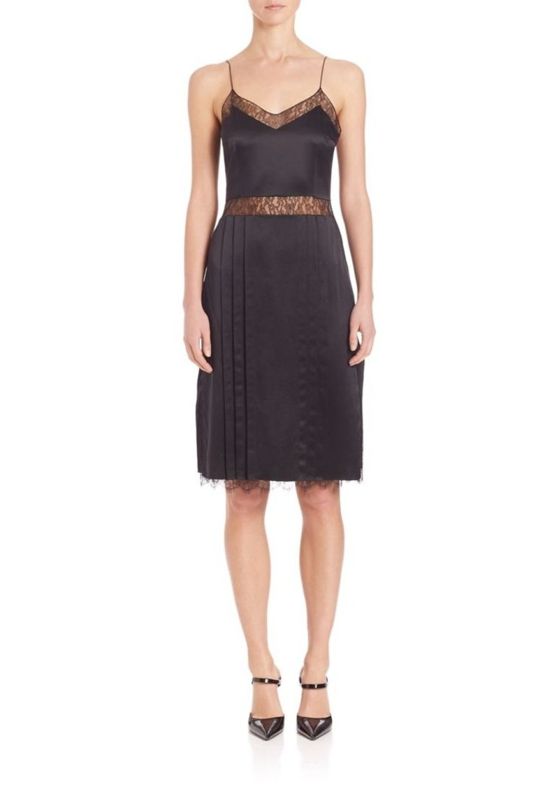 Michael Kors Collection Chantilly Lace Trim Silk Slip Dress