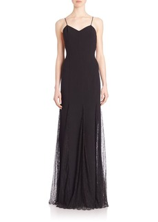 Michael Kors Collection Chantilly Trim Slip Gown