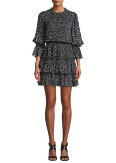Michael Kors Collection Cheetah-Print Silk Chiffon Tiered Dance Dress