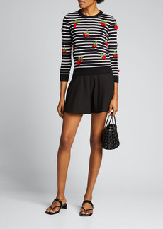 Michael Kors Collection Cherry Embellished Stripe Sweater